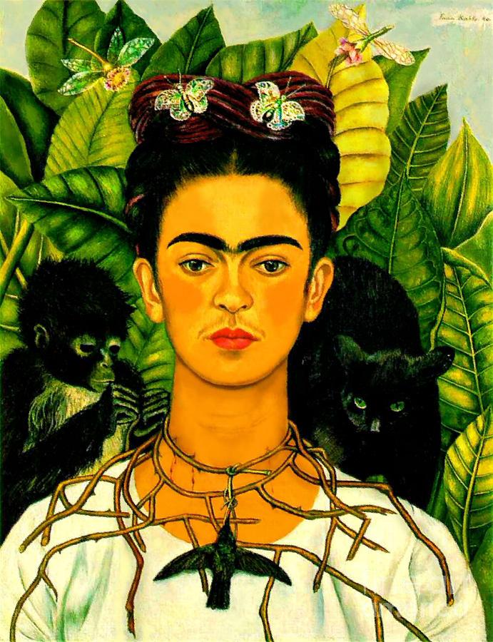 Frida Kahlo With Black Cat